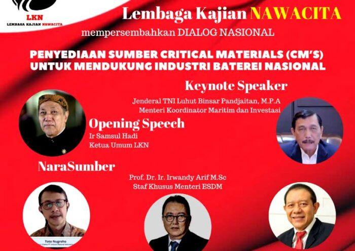 Dukung Industri Baterai, LKN: Diperlukan Penyediaan Sumber Critical Materials