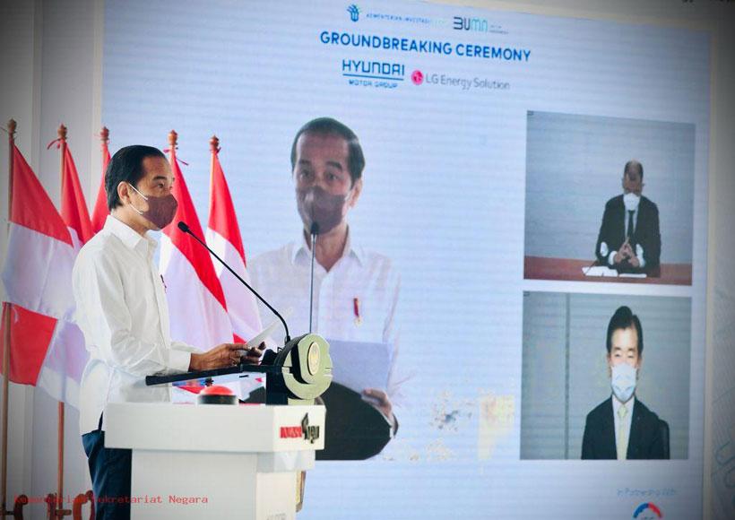 Presiden Jokowi Groundbreaking Pembangunan Pabrik Baterai Kendaraan Listrik Pertama di Asia Tenggara